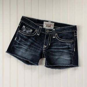 Big Star Vintage Liv Frayed Hem Jean Shorts Sz 26
